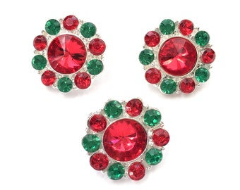 Set of 3 Christmas Acrylic Rhinestone Buttons in Red & Green - Perfect for DIY Headbands, Accessories, and Clothing