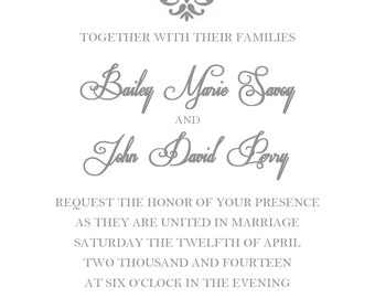 PRINTABLE Wedding Invitation & RSVP Card