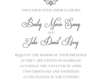 PRINTABLE Wedding Invitation & RSVP Card