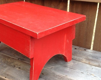 Step Stool, Traditional Style Step Stool, Solid Wood little Red Step Stool
