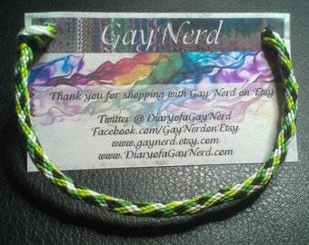 Handmade Green Plaid Kumihimo Friendship Bracelet