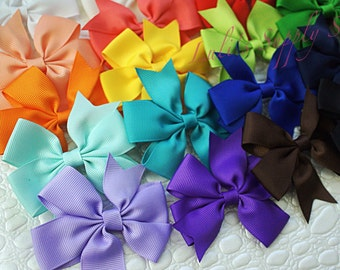 "U Pick Color - Pinwheel Grosgrain Ribbon Hair bows - Unfinished DIY Hair bows 3.5""  Bows - Wholesale lot Hair Accessories DIY Headbands"