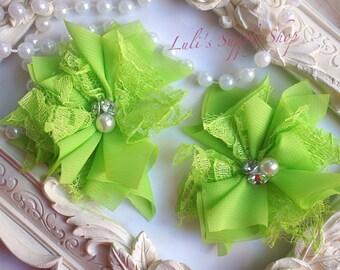 Set of 2 - Lace Chiffon Beaded Flowers - Petite Chiffon Flowers - Folded Chiffon Flowers - Lime Green Fabric flowers - Chiffon Pearl Flowers