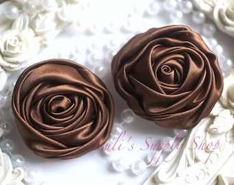 """2"""" Large Satin Ribbon Roses - Set of Two - Rolled Rosettes - Brown Satin Rolled Rosettes - Large Satin Roses - Brown Satin Flowers"""