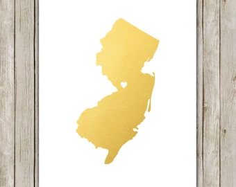 8x10 New Jersey State Print, Geography Art, Metallic Gold Printable Art, New Jersey Poster, Office Art, Home Decor, Instant Digital Download