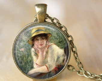 RENOIR Necklace Glass Pendant - Luncheon of the Boating Party - Jewerly Renoir Famous Painting Art Necklace Handmade Pendant (201)