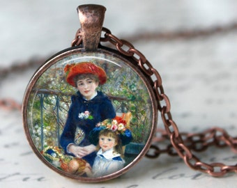 Mother and Daughter Glass Pendant Necklace - RENOIR - Jewerly Renoir Famous Painting Art Necklace Handmade Pendant (202)