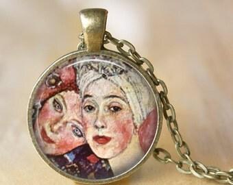 GUSTAV KLIMT Necklace Art Pendant Jewelry - The Woman Friends - Necklace Handmade Glass Pendant Art Nouveau Modern Art