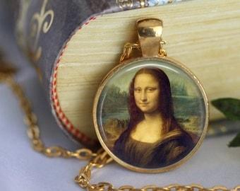 Leonardo Da Vinci - MONALISA Pendant Necklace Classic Art Painting La Gioconda - Leonardo Da Vinci Handmade Pendant (207)