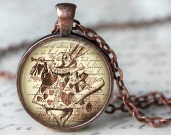 ALICE IN WONDERLAND  Necklace Glass Pendant Literary Art handmade Pendant Literary Jewelry Alice in Wonderland Charm rabbit necklace