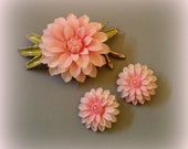 Pink Dahlia Demi -Brooch and Clip Earrings - Celluloid, Enamel & Gold Tone Setting - Sweet Vintage