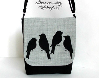 Hand made bag. Messenger bag with sparrows applique. Messenger bag with applique.