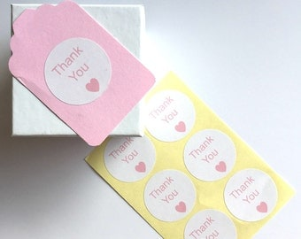 24 x Light Pastel Pink Thank You Heart Stickers Labels Wedding Bombonieres