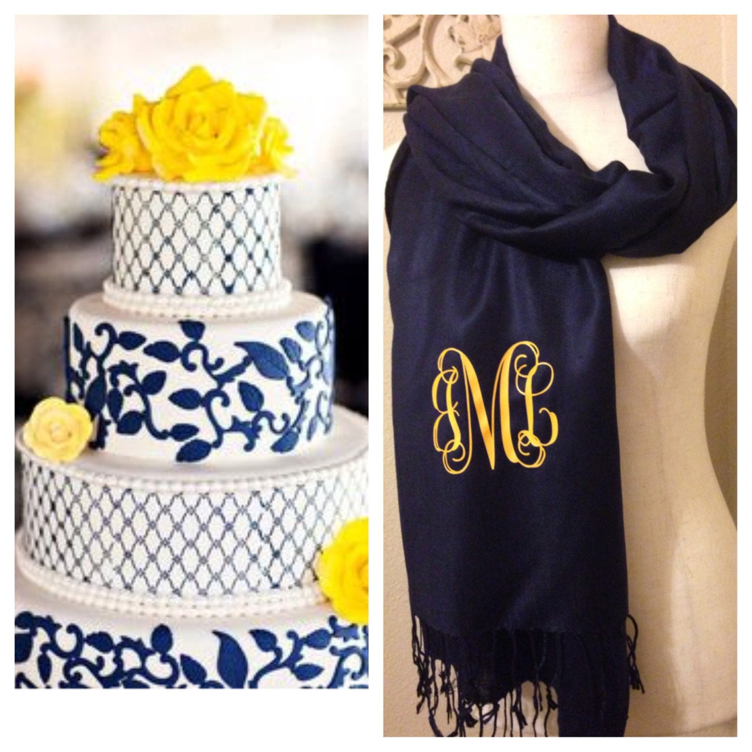 navy pashmina scarf monogrammed accessories personalized