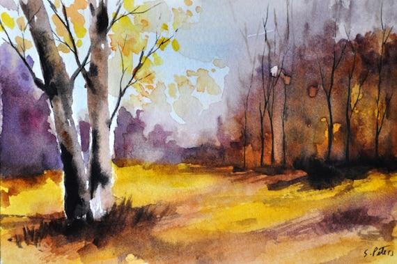 Articles Similaires Original Peinture Aquarelle Paysage D Automne Color L Automne Decor 4 X