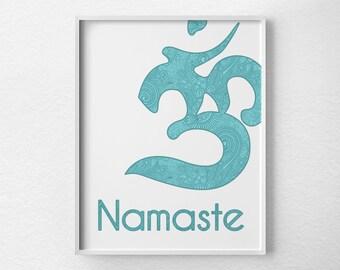 Namaste Print, Yoga Print, Yoga Studio Decor, Yoga Art, Om Print, Namaste Art, Inspirational Print, Yoga Poster, Baby Blue Print, 0166