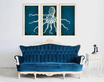 Octopus Canvas Print, Octopus Art, Nautical Canvas Print, Octopus Decor, Triptych Art, 3 Set Canvas, Large Canvas Print, Modern Home Decor