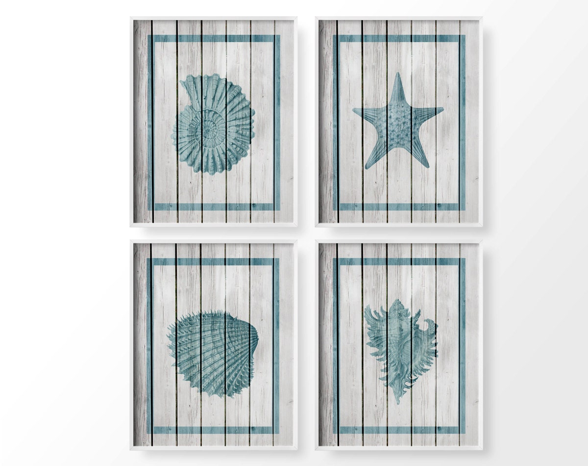 Costal Bathroom Decor: Seashell Art Nautical Sea Life Set 4 Set Rustic Beach Decor