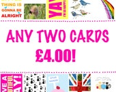 Any Two Cards, Your Choice From Nature Photograph Notecards, Original Art Design Cards, Christmas Cards, Low Price Deal, Blank Inside