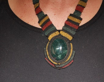 Large Jade macrame necklace in colors of rasta