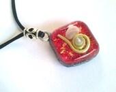 Orgonite pendant-SHUNGIT- Magic-Red-rose quartz heart-rhinestones-protection total energy