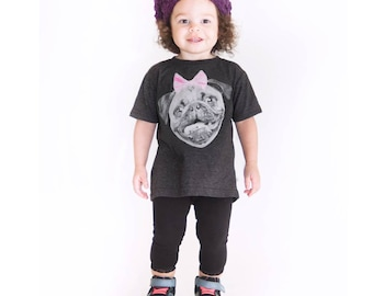 Pug T-Shirt. Childrens Pug Shirt. Pug With a Bow- Funny Kids shirt- Pug Dog Shirt Children/Toddler T-Shirt in Sizes 2,3,4,5/6 T