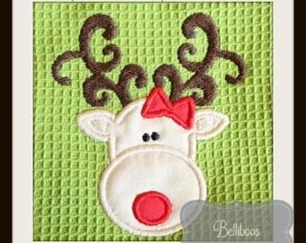 Reindeer Applique - Reindeer Embroidery - Christmas Applique - Christmas Embroidery - Holiday Applique - Holiday Embroidery - Girly Reindeer