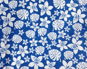 One Half Yard of Fabric Material - Tropical Hibiscus and Foliage