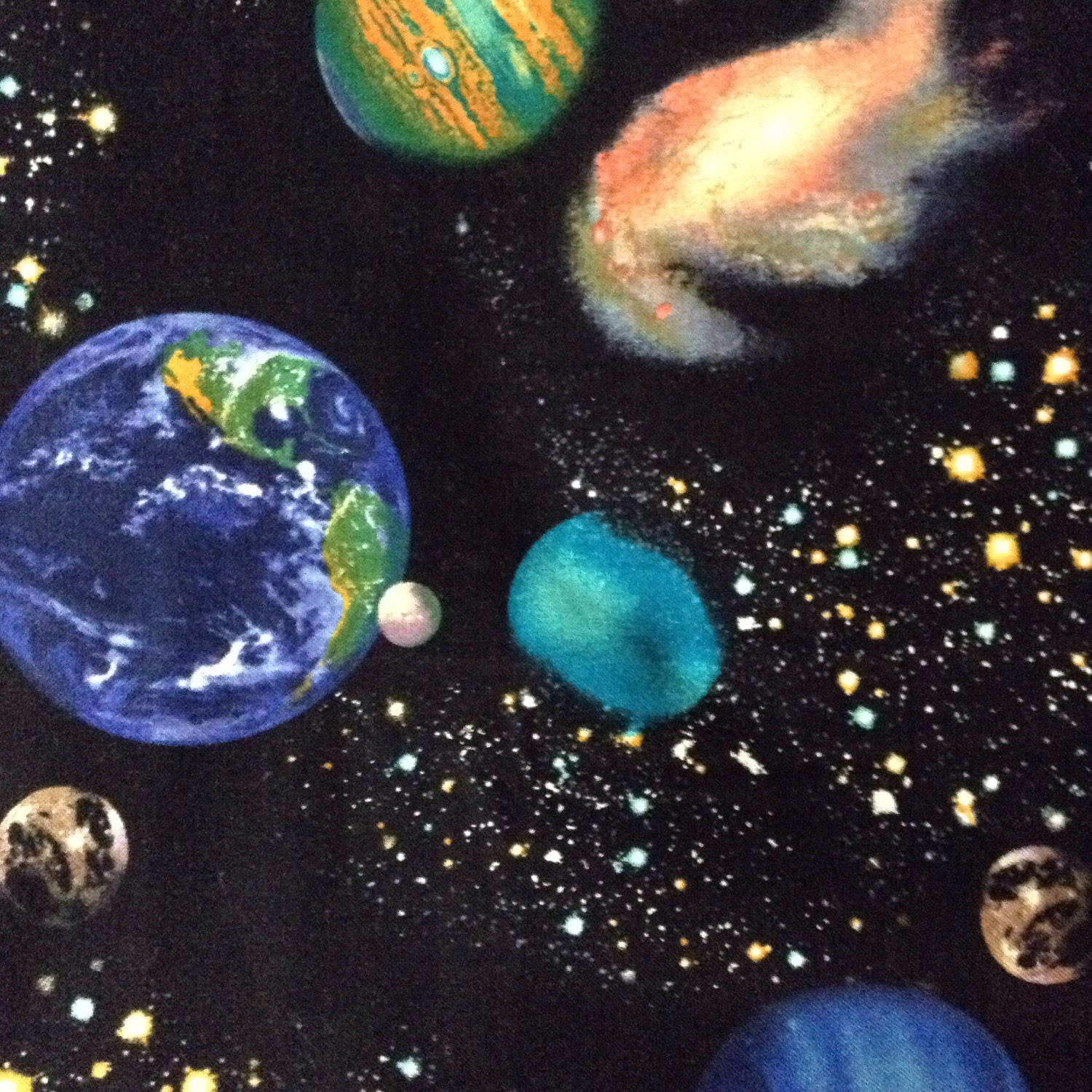 One half yard of fabric material outer space by craftingfabric for Space fabric by the yard