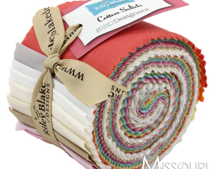 """Riley Blake - Mini Jelly Roll – 2.5"""" Strips – Cotton Solids – Lights"""