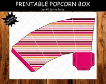 Owl Birthday Party Decorations, Printable 1st Birthday Decorations, Printable Treat Boxes, Popcorn Boxes, Pink, Orange Brown Party Printable