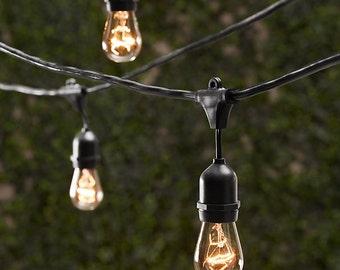 Vintage Patio String Lights w/ Clear Glass Edison Bulbs 24'' Spacing