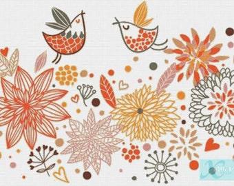 Vintage Birds PDF Cross Stitch Pattern