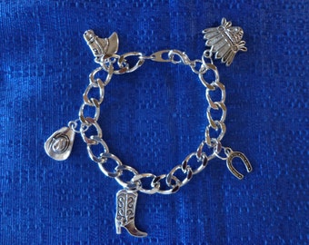 Western Charm Bracelet,Southwest Bracelet,Silver Charm Bracelet,Cowgirl Bracelet,Boot Charm,Chief Charm,Cowgirl Hat Charm,Horseshoe Charm