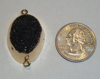 RARE!  Beautiful, Jet Black Druzy Connector with Electroplated Edges and Two Loops