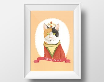 Custom Cat Illustration - Choose your cat, choose your outfit 8x10. Calico Cat Print