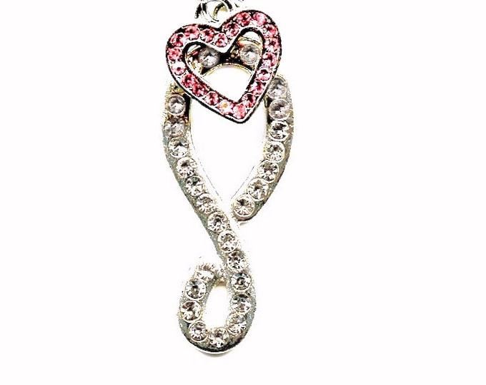 JEWELRY PENDANT ETERNITY; rhinestone, pink rhinestone heart, silver 17 inch chain, teen, jewelry, Valentines's day, I love you gift,