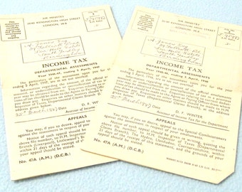 FREE POST - Set of Two Rare 1940s Vintage Income Tax Assessment Forms, Used Paper, Collectible, Great Display Items, Crafts, Projects