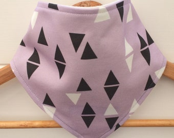 Organic Baby Bandana Bib with Purple Triangles Pattern