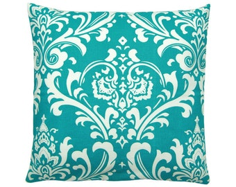 Pillowcase OZBORNE turquoise and white Baroque ornament 40 x 40 cm