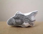 fish brooch hand painted realistic goldfish black and white nautical gift idea for fisherman sea ocean life soft pin cotton fabric