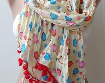 Cream Red Pompom Scarf,Polka dots scarf Crinkle scarf Summer scarf,colourful, Women scarf, fashion scarf, gifts scarfs, Christmas scarf