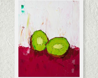 Kiwi Print, Still Life Print, Green Art Print, Small Wall Art, Kitchen Art Decor, Original Art Print, Magenta, Fine Art Print, Impasto Art
