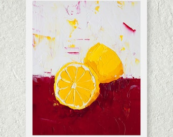 Lemon Print, Wall Art, Gift for Her, Home Decor, Fine Art Print, Kitchen Art Print, Red and Yellow, Bright Colorful Art, Fruit Print