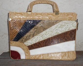 Vintage 80s Embossed Multi Color Snakeskin Handbag Purse
