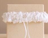 White Bridal Garter, Romantic Ruffle Design Garter