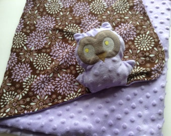 Minky blanket, blanket with friend,purple owl blanket, Security Blanket buddy, 3-in-1, blanket-pillow -toy