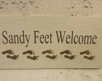 Sandy feet - Beach - Beach decor - Beach signs - Wood sign - Signs - Beach house - Gift - Foot prints - Welcome Sign