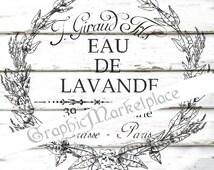 Lavender Wreath Eau de Lavande Soap Instant Download Vintage Transfer Burlap digital graphic printable No. 1101
