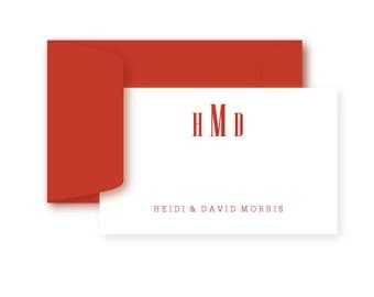 Gift Enclosure Cards, Personalized, Set of 10, Modern Monogram